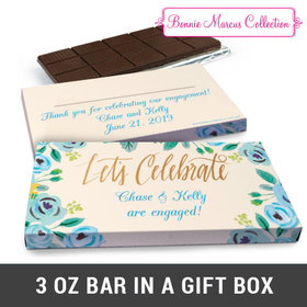 Deluxe Personalized Something Blue Engagement Chocolate Bar in Gift Box (3oz Bar)
