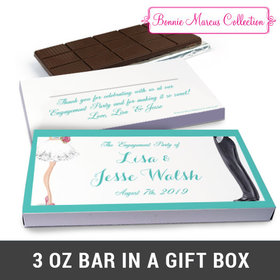 Deluxe Personalized Chic Couple Engagement Chocolate Bar in Gift Box (3oz Bar)