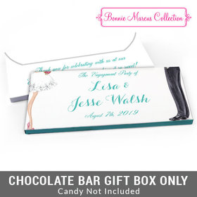 Deluxe Personalized Chic Couple Engagement Candy Bar Favor Box