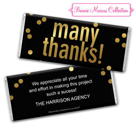 Personalized Bonnie Marcus Many Thanks Business Chocolate Bar & Wrapper with Gold Foil