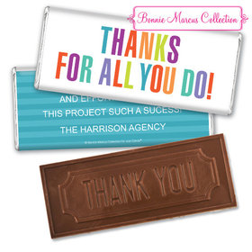 Personalized Bonnie Marcus Stripes Business Thank you Embossed Chocolate Bar