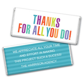 Personalized Bonnie Marcus Stripes Business Thank you Chocolate Bar & Wrapper