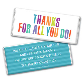 Personalized Bonnie Marcus Stripes Business Thank you Chocolate Bar Wrappers Only