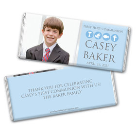 Personalized Bonnie Marcus Boy First Communion Religious Symbols Chocolate Bar Wrappers Only