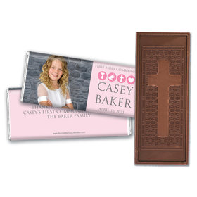 Personalized Bonnie Marcus Girl First Communion Religious Symbols Embossed Chocolate Bars