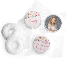 Personalized Life Savers Mints - Girl First Communion Floral Elegance