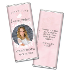 Personalized Bonnie Marcus Girl First Communion Darling Roses Chocolate Bar Wrappers Only