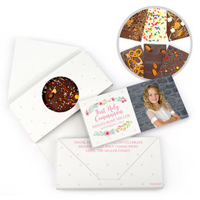 Personalized Bonnie Marcus Girl Communion Fancy Florets Gourmet Infused Belgian Chocolate Bars (3.5oz)
