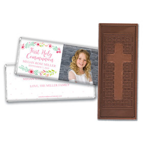 Personalized Bonnie Marcus Girl First Communion Fancy Florets Embossed Chocolate Bars