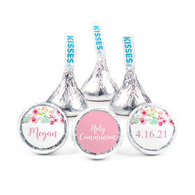"""Personalized Girl First Communion Fancy Florets 3/4"""" Stickers (108 Stickers)"""