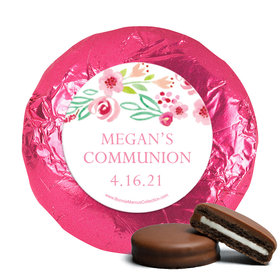Personalized Girl First Communion Fancy Floret Chocolate Covered Oreos (24 Pack)