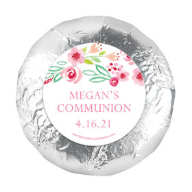 "Personalized 1.25"" Stickers - Girl First Communion Fancy Floret (48 Stickers)"