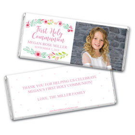 Personalized Bonnie Marcus Girl First Communion Fancy Florets Chocolate Bar Wrappers Only