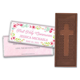 Personalized Bonnie Marcus Girl First Communion Floral Arrangement Embossed Chocolate Bars