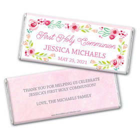 Personalized Bonnie Marcus Girl First Communion Floral Arrangement Chocolate Bars