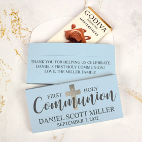Deluxe Personalized First Communion Godiva Chocolate Bar in Gift Box- Bonnie Marcus Boy Shimmering Cross