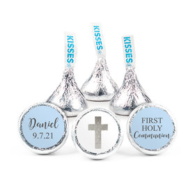 "Personalized Boy First Communion Shimmering Cross 3/4"" Stickers (108 Stickers)"