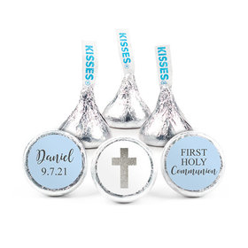 Personalized Bonnie Marcus Boy First Communion Shimmering Cross Hershey's Kisses (50 pack)