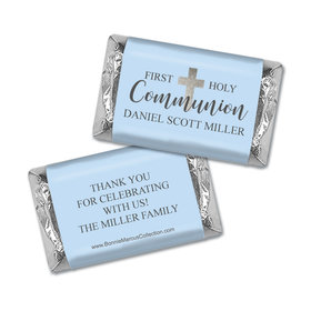 Personalized Bonnie Marcus Boy First Communion Shimmering Cross Hershey's Miniatures