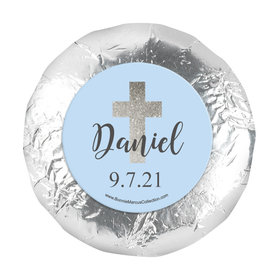 "Personalized 1.25"" Stickers - Boy First Communion Shimmering Cross (48 Stickers)"
