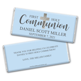 Personalized Bonnie Marcus Boy First Communion Shimmering Cross Chocolate Bar Wrappers Only