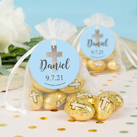 Personalized Boy 1st Communion Shimmering Cross Milk Chocolate Eggs in Organza Bags with Gift Tag