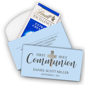 Deluxe Personalized First Communion Lindt Chocolate Bar in Gift Box- Bonnie Marcus Boy Shimmering Cross