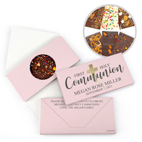 Personalized Bonnie Marcus Girl Communion Shimmering Cross Gourmet Infused Belgian Chocolate Bars (3.5oz)
