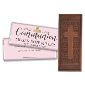 Personalized Bonnie Marcus Girl First Communion Shimmering Cross Embossed Chocolate Bars
