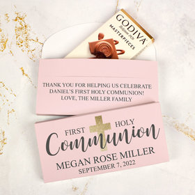 Deluxe Personalized First Communion Godiva Chocolate Bar in Gift Box- Bonnie Marcus Girl Shimmering Cross