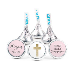"Personalized Girl First Communion Shimmering Cross 3/4"" Stickers (108 Stickers)"