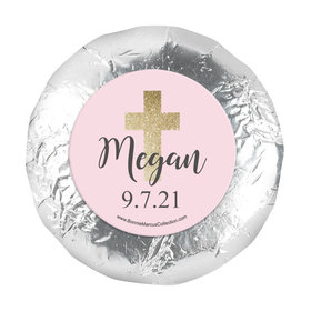 "Personalized 1.25"" Stickers - Girl First Communion Shimmering Cross (48 Stickers)"