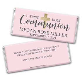 Personalized Bonnie Marcus Girl First Communion Shimmering Cross Chocolate Bar Wrappers Only