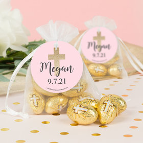 Personalized Girl 1st Communion Shimmering Cross Milk Chocolate Eggs in Organza Bags with Gift Tag