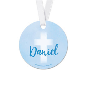 Personalized Faded Cross Communion Round Favor Gift Tags (20 Pack)