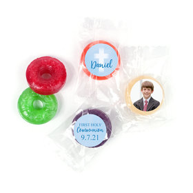 Personalized Life Savers 5 Flavor Hard Candy - Boy First Communion Faded Cross