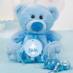 Personalized Boy Communion Floral Filigree Blue Teddy Bear and Organza Bag with Hershey's Kisses