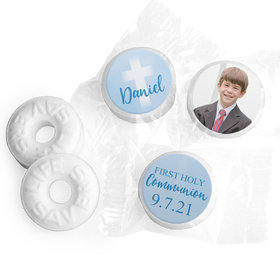 Personalized Life Savers Mints - Boy First Communion Faded Cross