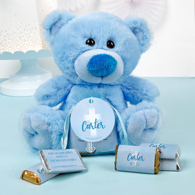 Personalized Boy Communion Floral Filigree Blue Teddy Bear and Organza Bag with Hershey's Miniatures