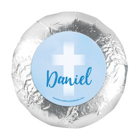 "Personalized 1.25"" Stickers - Boy First Communion Faded Cross (48 Stickers)"