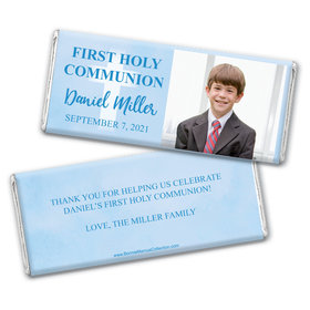 Personalized Bonnie Marcus Boy First Communion Faded Cross Chocolate Bar Wrappers Only