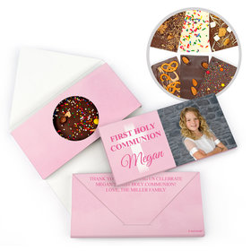 Personalized Bonnie Marcus Girl Communion Faded Cross Gourmet Infused Belgian Chocolate Bars (3.5oz)