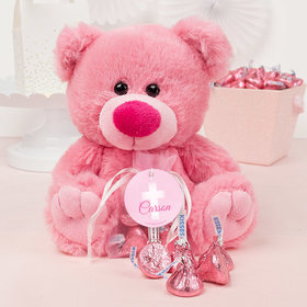 Personalized Girl Communion Floral Filigree Pink Teddy Bear and Organza Bag with Hershey's Kisses