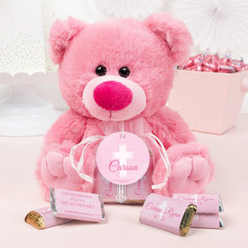 Personalized Girl Communion Floral Filigree Pink Teddy Bear and Organza Bag with Hershey's Miniatures
