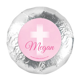 "Personalized 1.25"" Stickers - Girl First Communion Faded Cross (48 Stickers)"