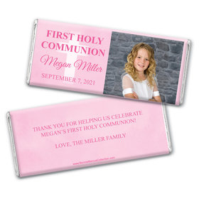 Personalized Bonnie Marcus Girl First Communion Faded Cross Chocolate Bars