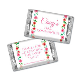 Personalized Bonnie Marcus Girl First Communion Bold Florals Hershey's Miniatures