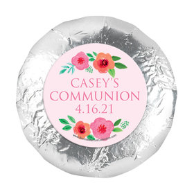 "Personalized 1.25"" Stickers - Girl First Communion Bold Florals (48 Stickers)"