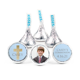 "Personalized Boy First Communion Glitter Cross 3/4"" Stickers (108 Stickers)"