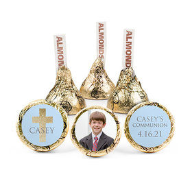 Personalized Bonnie Marcus Boy First Communion Glitter Cross Hershey's Kisses (50 pack)